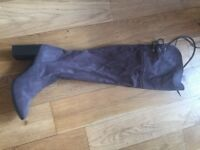 Grey over knee boots size 6