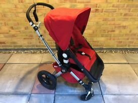 Red Bugaboo Cameleon in Excellent Condition with Footmuff, Breezy Canopy and Cup Holder
