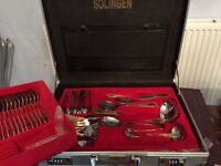 Solingen gold plated handled cutlery set in presentation box