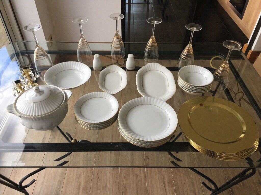Full Chodziez China dinner set and crystal glasses | in Havant, Hampshire |  Gumtree