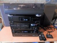 HIFI SYSTEM B&W DM610 SPEAKERS SONY TURNTABLE DENNON CD 520AE TEAC 3 HEAD CASSETTE TEAC AG-D200 AVR