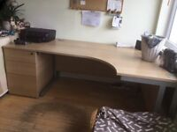 Large office desk and drawers. About 10years old.