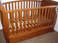 Babies R us Sleigh cot bed. Graco travel cot too
