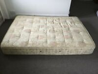 Standard double mattress, used but clean with a double size quilt and 2 pillows.