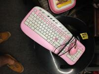 Saitek pink keyboard and mouse USB computer PC mice