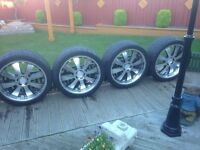 "22"" deep dish alloy wheels with good tyres will fit range rover or bmw cost over £2500 bargain 500"