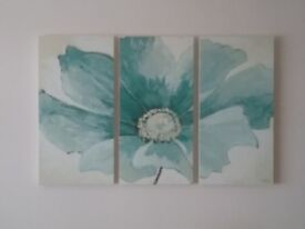 Canvas floral picture, 3 canvases