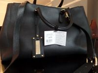 Russell and Bromley black leather handbag (as new)