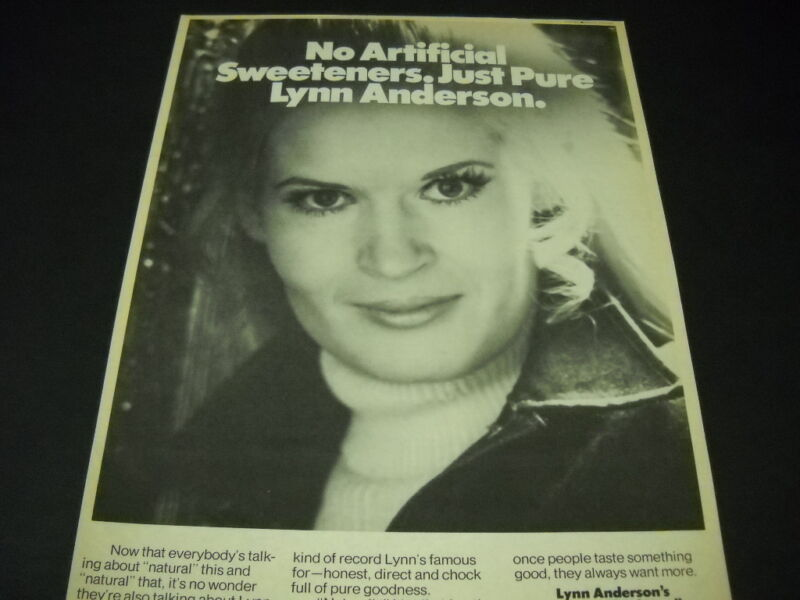 LYNN ANDERSON is Sweet and Pure 1976 PROMO POSTER AD mint condition