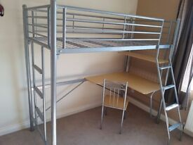 Single Metal Frame High Bed with Integral Desk and Chair