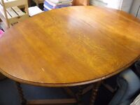 TRADITIONAL OAK DROP-LEAF TABLE (NO CHAIRS) - NEW LOWER PRICE