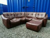 Stunning DFS ZARA Brown Leather Corner Sofa+Footstool *Mint Condition,Delivery Available*
