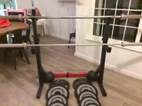 Weight Bench with adjustable rack, 132.5kg of plates and 2 bars