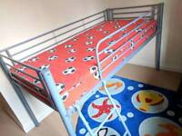 Childs single raised metal bed frame (cabin bed)