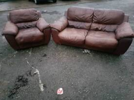 2 & 1 seater genuine brown leather sofa