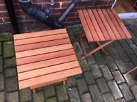 2 x small wooden garden tables