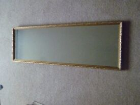 Long Seventies Wall Mirror, Looking Glass. Gilt Frame.