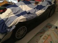 Kids single black car bed