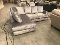 Brand new silver crushed velvet corner sofa
