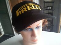 Quality brand new canvas 'PIRELLI' baseball cap with ventilation, embroidered logo's & velcro strap