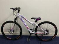 Women's bike Mountain Bike 14.5 Inch Frame lockout suspension Shimano Gears