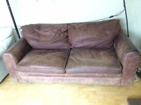 Soft Leather sofa and Chair only £40
