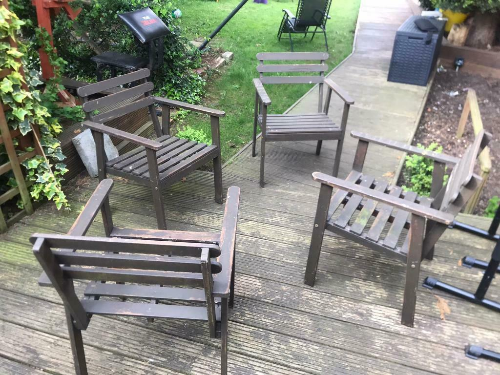 Ikea 4x Wooden Garden Chairs In Norwich Norfolk Gumtree