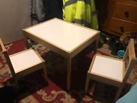 IKEA toddlers desk and 2 chairs