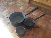 Vintage Black Sauce Pan Set