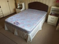 4' 6 divan bed with mattress and headboard.