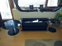 Black glass TV Stand and Tables Set-excellent condition-Normally sell for £349.99.