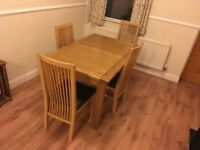 Wooden Dining Room Table and 4 Chairs