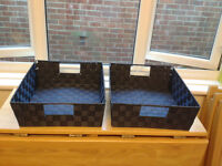 2 navy blue baskets - excellent condition