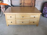 Solid Oak Coffee table with multiple drawers