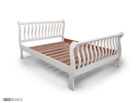 King Size Ivory Cream Solid Wood French Shabby Chic Sleigh Bed With Slats -Can Be Painted Any Colour