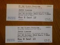 2 x Jamie Lawson tickets - Cliffs Pavilion Southend - Sat 22 October 2016.