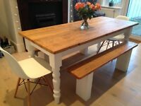 PAIR OF BEAUTIFUL OAK BENCHES WITH PAINTED LEGS FOR DINING TABLE