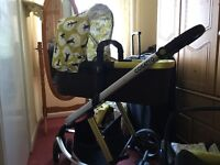 Cosatto giggle treet travel system, includes car seat, carry cot and pram seat