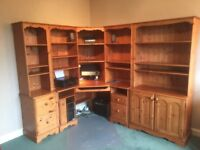 Desk/combined wall unit, table, chair, TV/floor unit