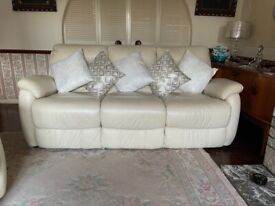 DFS reclining leather sofa and arm chairs