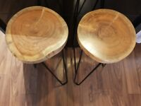 2 Stunning Solid Wood Hairpin Leg Stools
