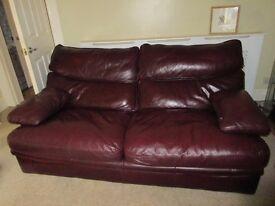 G Plan burgundy leather two seat sofa vgc