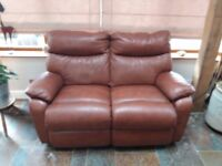 Brown leather La-Z-Boy 2 seater reclining sofa & 2 reclining chairs