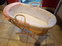 Moses Basket With Stand - Mint Condition