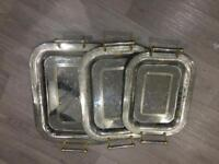 Silver and golden trays