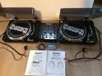 Pair NUMARK TT-100 turntables with DM1002MX mixer and STANTON cartridges