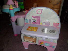 Doll Changing/bath, feeding and kitchen playset with doll