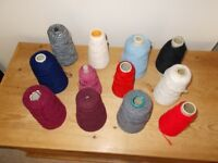 12 part cones of knitting wool various shades and plys