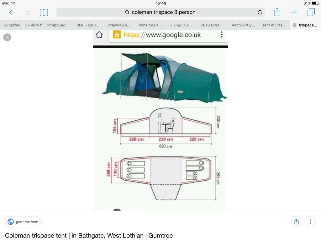 Family Tent, Coleman 6-8 berth+dining area, excellent condition  | in  Hurstpierpoint, West Sussex | Gumtree