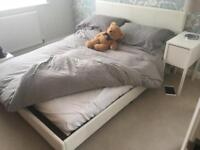 "Immaculate 5ft 6"" faux leather bed with mattress"